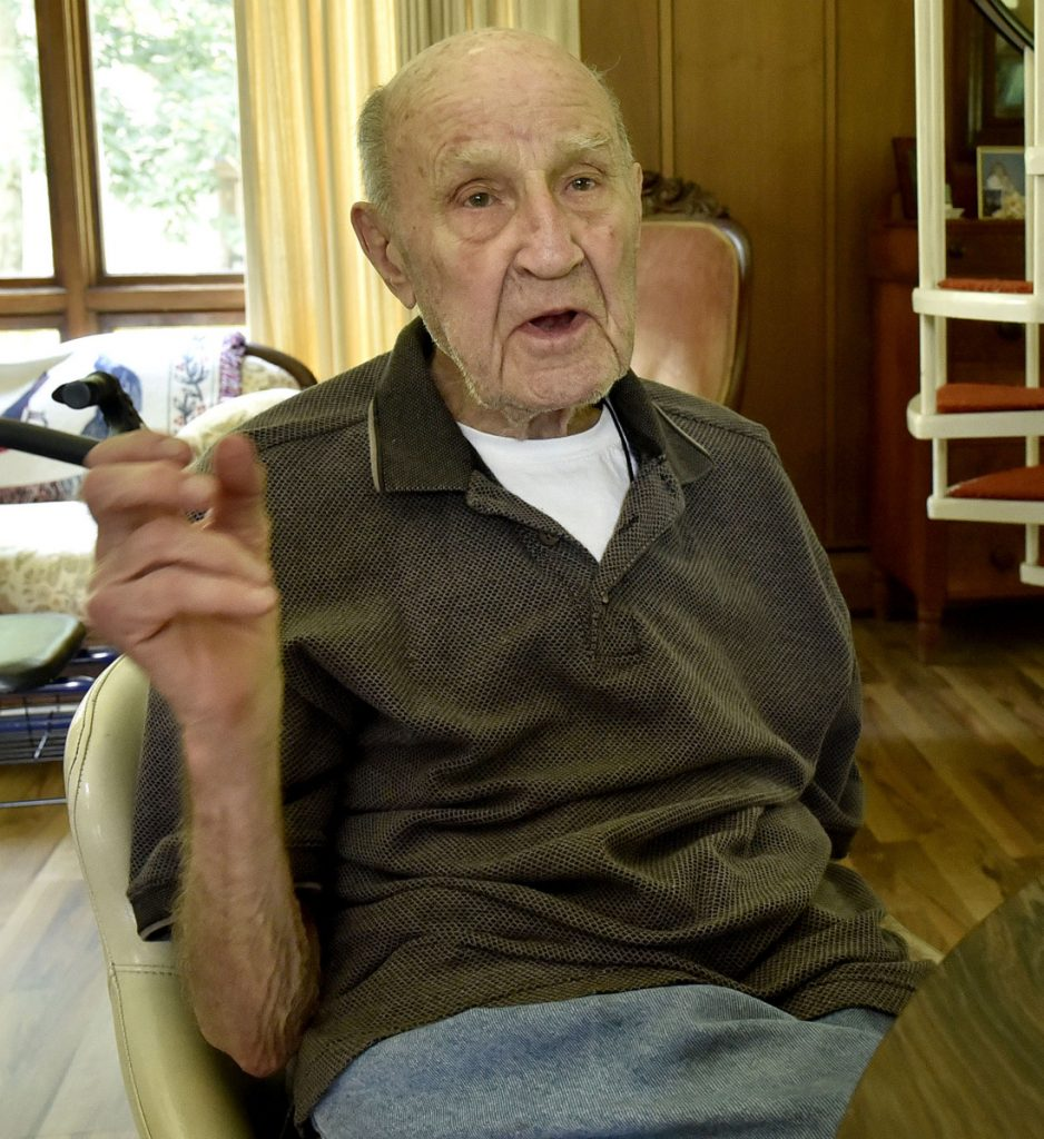 Donald Eames, 91, of Norridgewock, talks on Tuesday about the old days and his association with the Skowhegan State Fair for 81 years, since he was a 10-year-old boy. Eames said the fair was better attended, less expensive and more fun years ago.