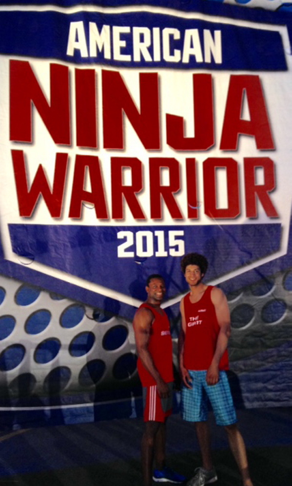 "Father-and-son team Jonathan Alexis Sr., left, and Jonathan Alexis Jr., competed in NBC's ""American Ninja Warrior"" in 2015. Alexis Sr. will be in Skowhegan Tuesday night as part of National Night Out activities."