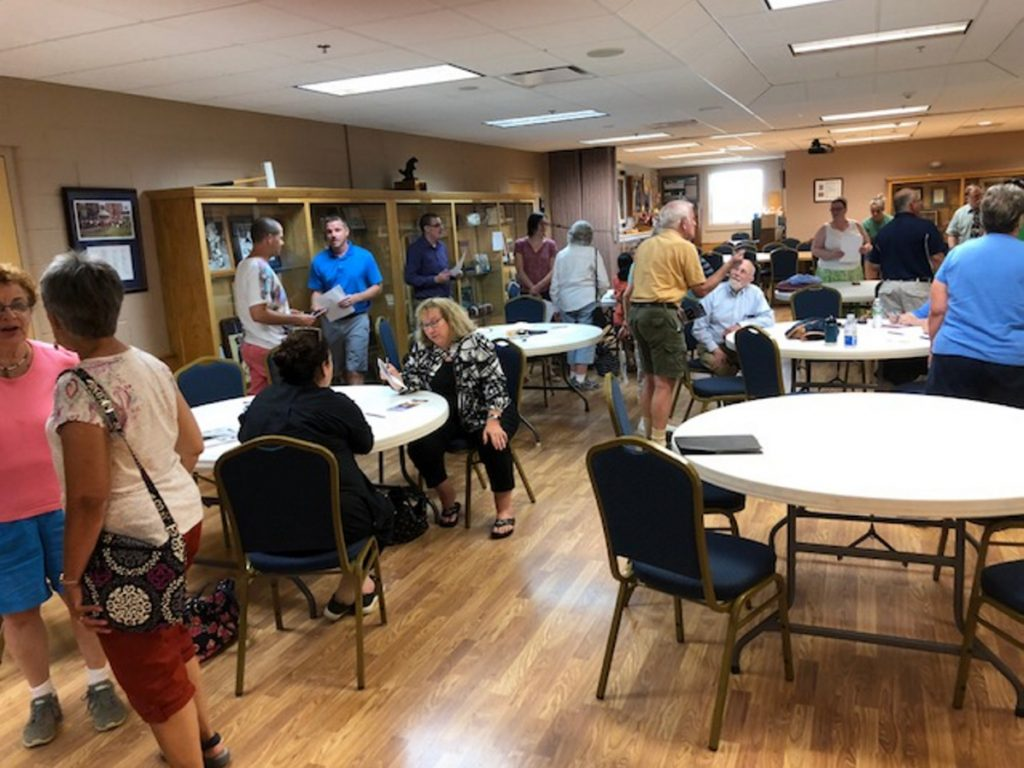 About 50 people turned out for the Waterville City Democratic Committee caucus Monday at the Alfond Youth Center where residents sought to choose candidates for City Council, wards 1, 3, 5 and 7, and Waterville Board of Education, wards 1 and 7.