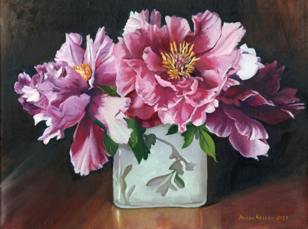 Tree Peony Painting by Arlene Kelley.