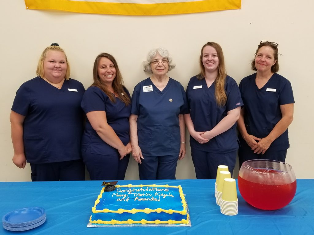 Augusta Adult & Community Education recently announced that all members of its spring 2018 Certified Nursing Assistant course passed the State of Maine CNA certificate exam. They are, from left, Kayla McKenney, Amanda Sproul, Isabelle Markley RN and Clinical Instructor, Tristin Bean, and Mary Barker.