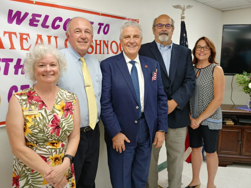 In recognition of Chateau Cushnoc's 35th anniversary, a ceremony was held Aug. 8 at the Augusta facility on Townsend Street, where residents joined in acknowledging the 35 years since the residential facility for seniors and individuals with disabilities was built. Speeches were given, veterans were honored, awards were presented and all was followed by a lunch and cake in the back patio. From left are Terry Redlevske, Community Manager for Chateau Cushnoc; Patrick Paradis, Board of Directors for Chateau Cushnoc; Steve Protulis, President & CEO EHDOC (Elderly Housing Development & Operations Corporation; David Rollins, Mayor & guest speaker to present proclamation; and Jennifer Day, Guest At-Large City Councilor.