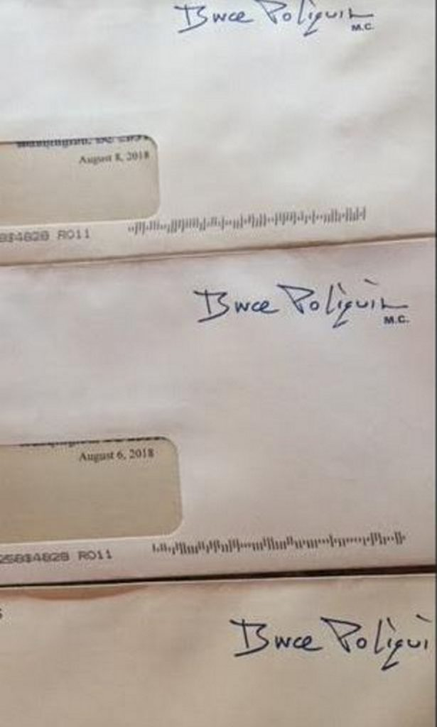 Envelopes for the three pieces of mass mail one Androscoggin County woman received from U.S. Rep. Bruce Poliquin on the same day last week.