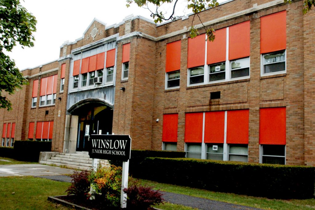 Opponents of a planned $9.1 million project for Winslow schools — involving closing the Winslow Junior High School, seen above in May 2016, while renovating both the high school and the elementary school — have filed a petition seeking repeal the plan's recent voter approval. The town attorney says their petition is illegal and can't undo the voters' decision.