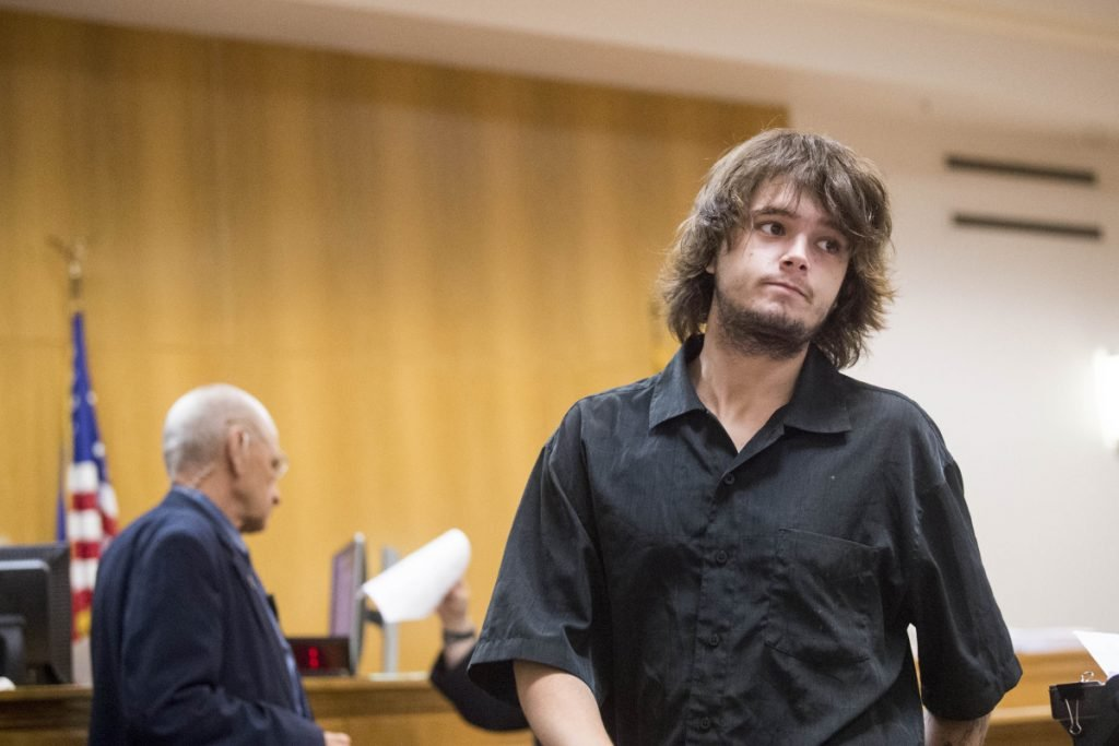 Noah Goodgridge enters a not guilty plea Wednesday in Skowhegan District Court to an assault charge in connection with a June 12 incident involving a Skowhegan police officer. Goodridge says he had a seizure and the police officer, who arrested him, misunderstood what was happening.