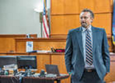 Seth Carey paces in the Portland Superior Court courtroom before his disbarment hearing on Wednesday afternoon.
