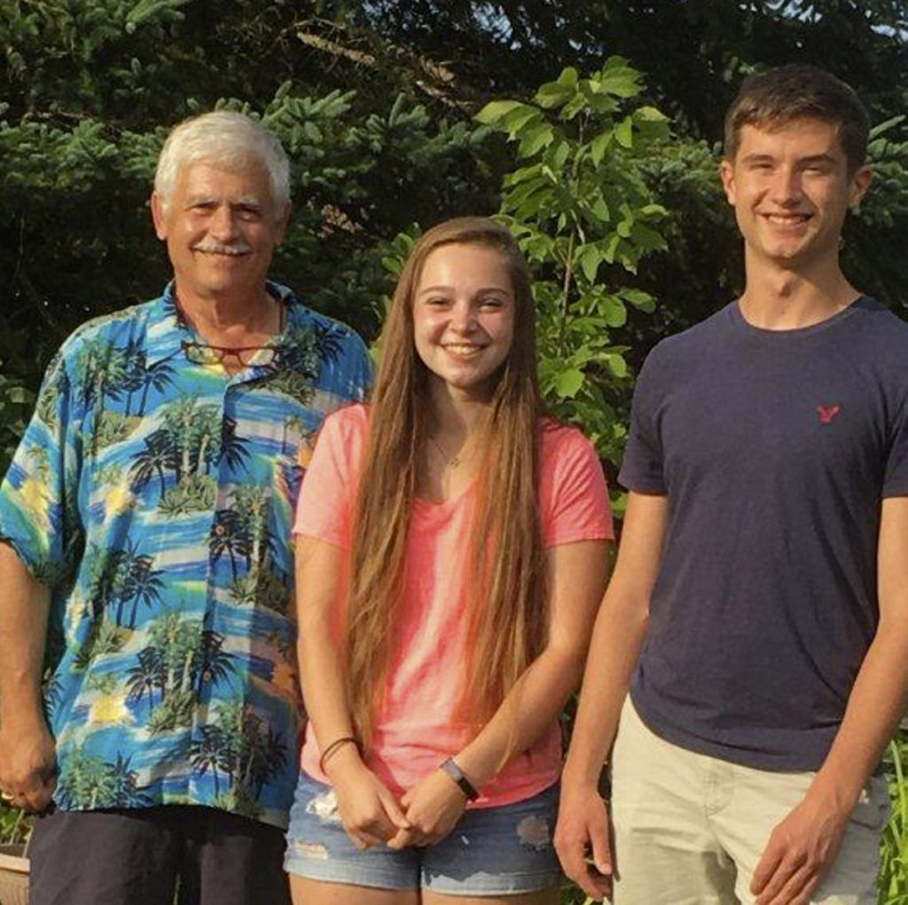 Mt. Blue Area Garden Club President Tom Saviello, left, with scholarship recipients Kaci O. Presby and Ezekiel S. Robinson.