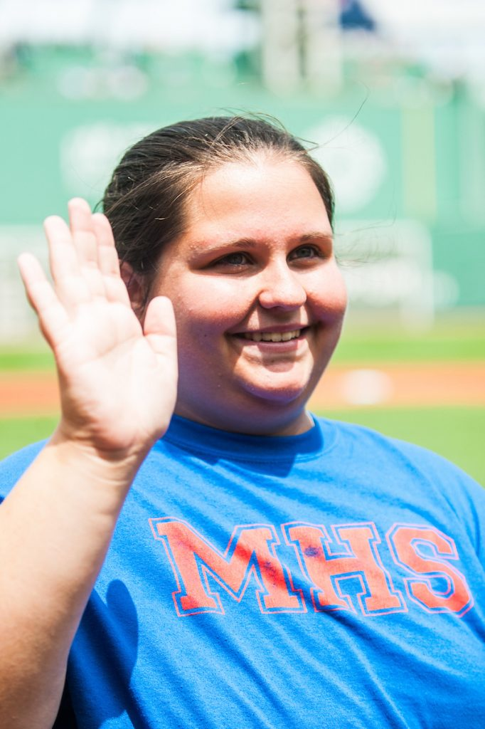 Mackenzie Veuilleux, of Oakland, was recognized as a recipient of the New Hampshire Red Sox Service Scholarship during a pre-game ceremony at Fenway Park before the Red Sox-Minnesota Twins game on July 29.