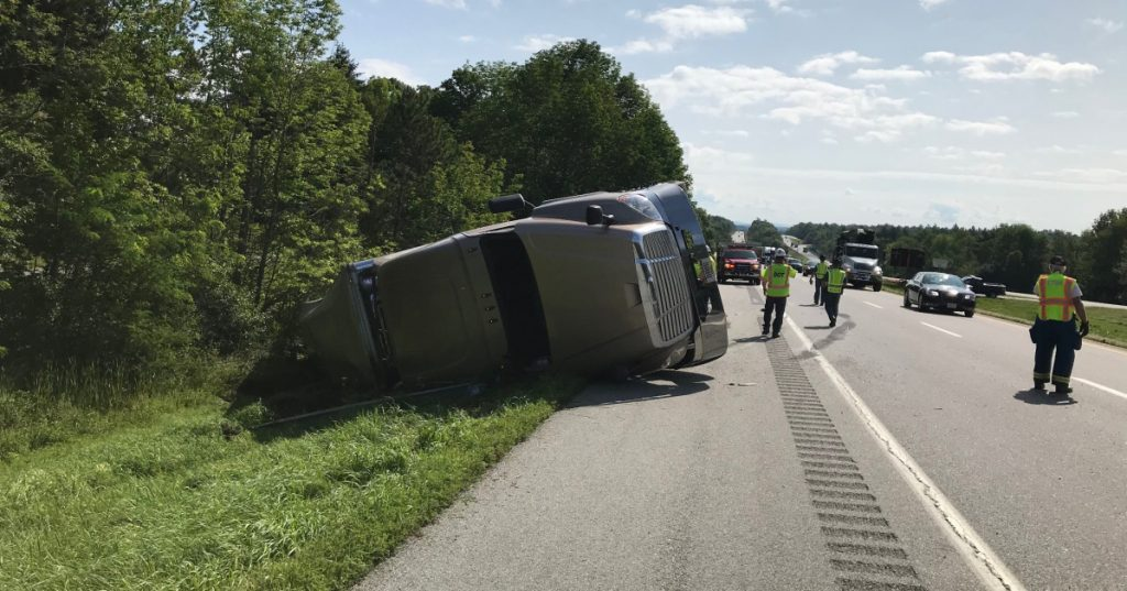 A tractor-trailer hauling potatoes on Tuesday overturned near mile 167 of Interstate 95.