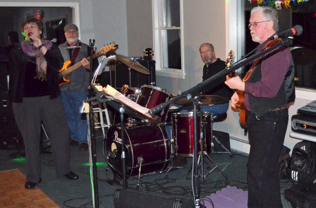 The musical group Salty Dogs will perform at this year's fundraiser for Wiscasset Public Library. From left are Liz Kinsman, Ray Dallaire, Bert Breton and Allan Swain.