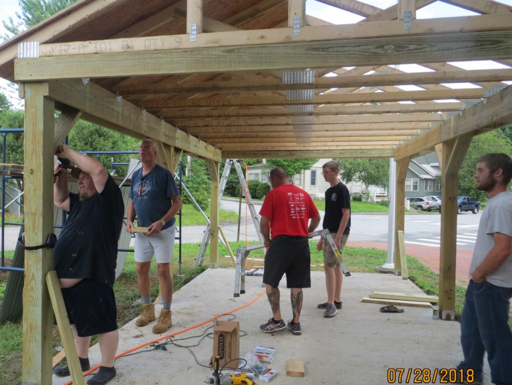 Alex Stewart, a member of Troop 479 in China, built a covered outdoor area at Lincoln School in Augusta as his Eagle Project. From left are Darren Cole, Chip Edgecomb, Jonathan Stoner, Scout Alex Stewart and Christian Hunter.