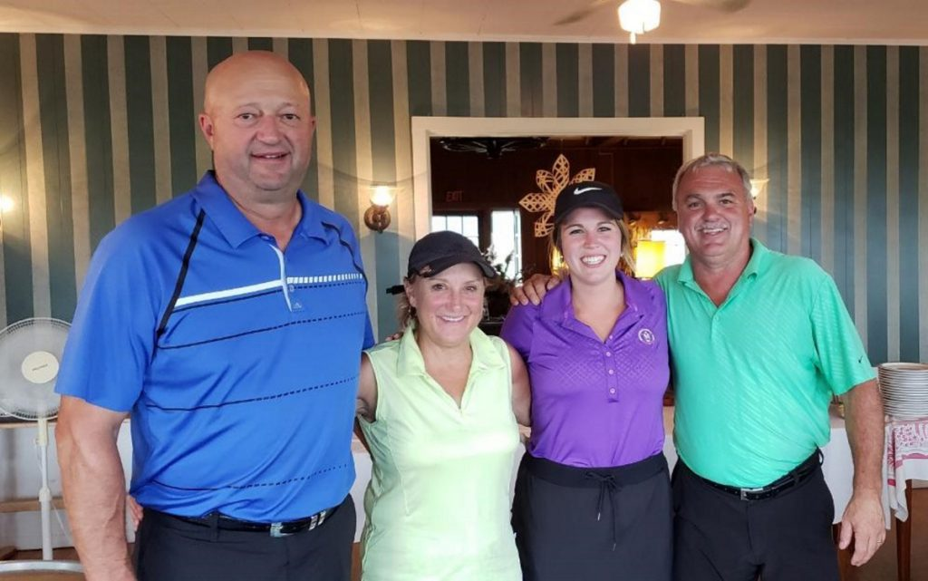 First place — mixed division winners, from left, are Greg Nemi, Ann Nemi, Brittany DiPompo and Dan DiPompo.
