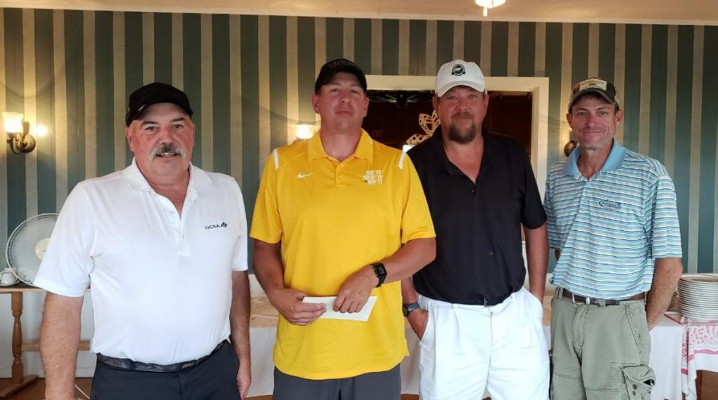 First place — men's A division winners, from left, are Kyle Ladd, Erin Washington, Larry Washington and Noel Dolbier.