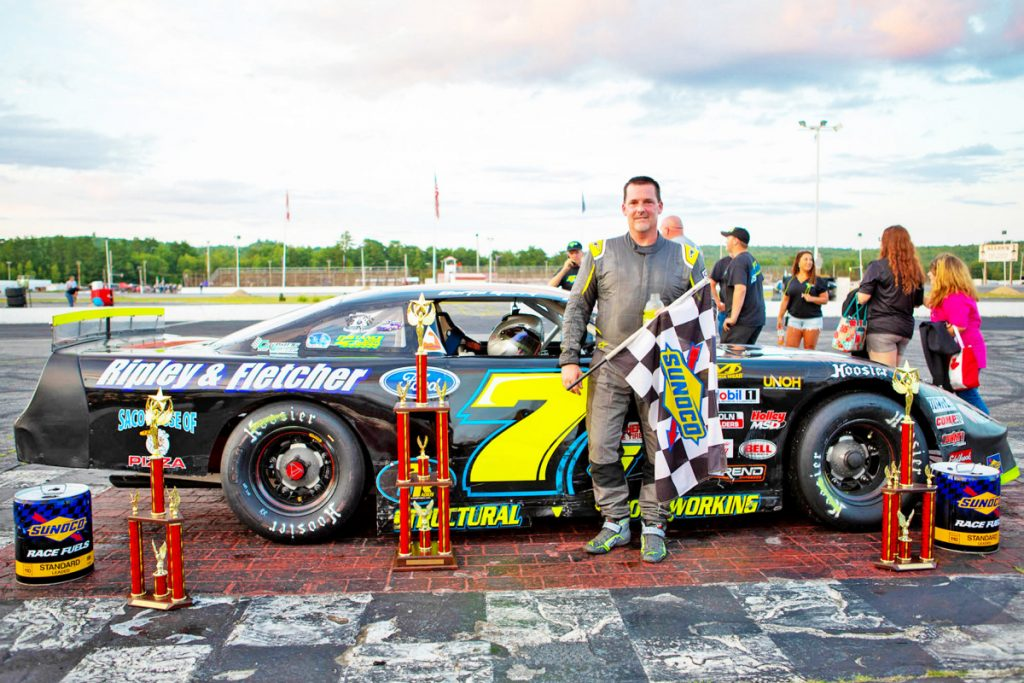 Curtis Gerry of Waterboro won the PASS Super Late Models Oxford Qualifier race in July at Oxford Plains Speedway. Gerry is one of the favorites to win the Oxford 250 on Sunday.
