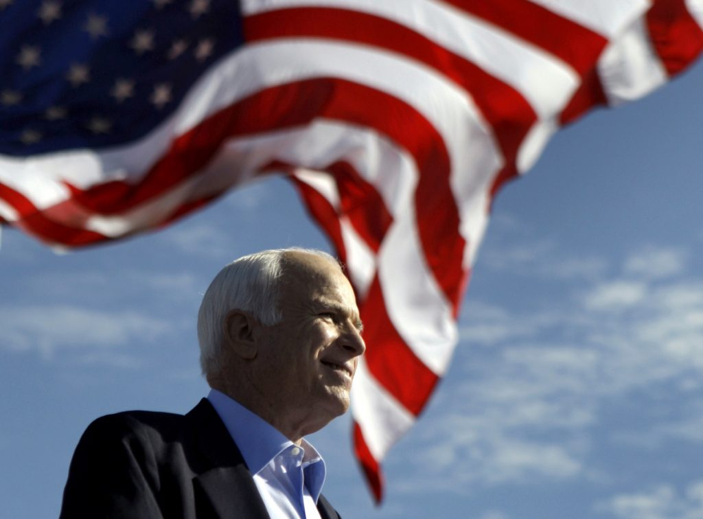 Sen. John McCain, R-Ariz., speaks at a rally Nov. 3, 2008, outside Raymond James Stadium in Tampa, Fla.