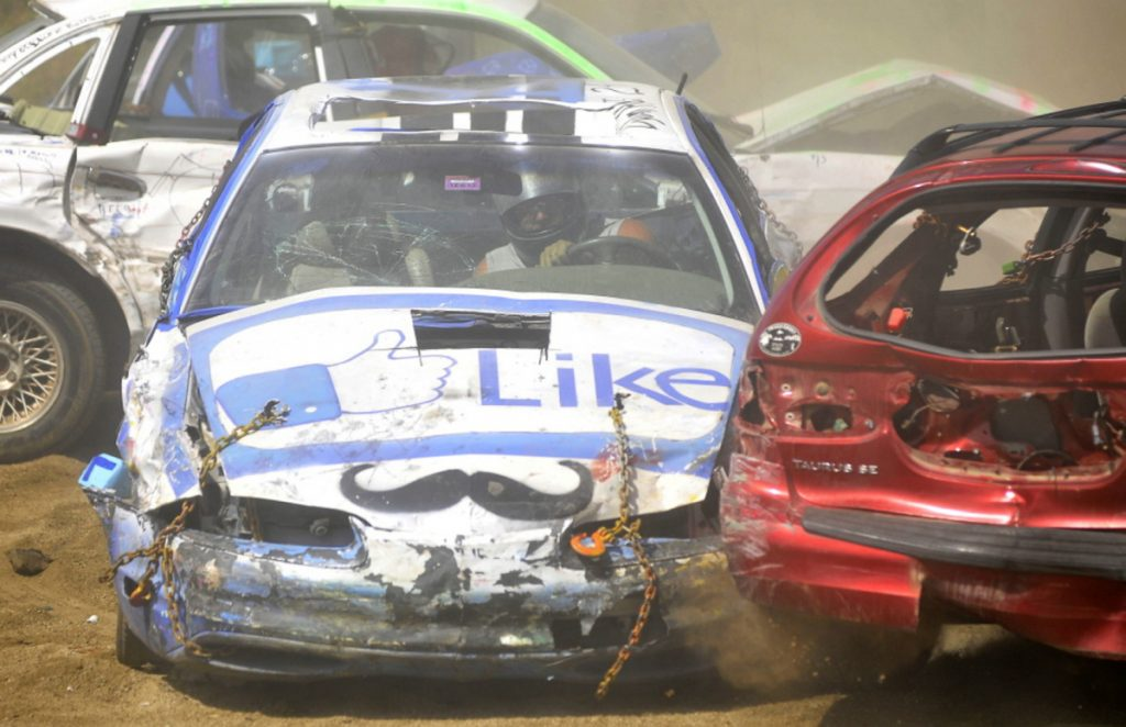 Drivers compete in a demolition derby Aug. 30, 2014, at the Harmony Free Fair in Harmony. The fair, sponsored by the Patriarchs Club to benefit the community, opens Friday and runs through Monday. Admission and parking are free.