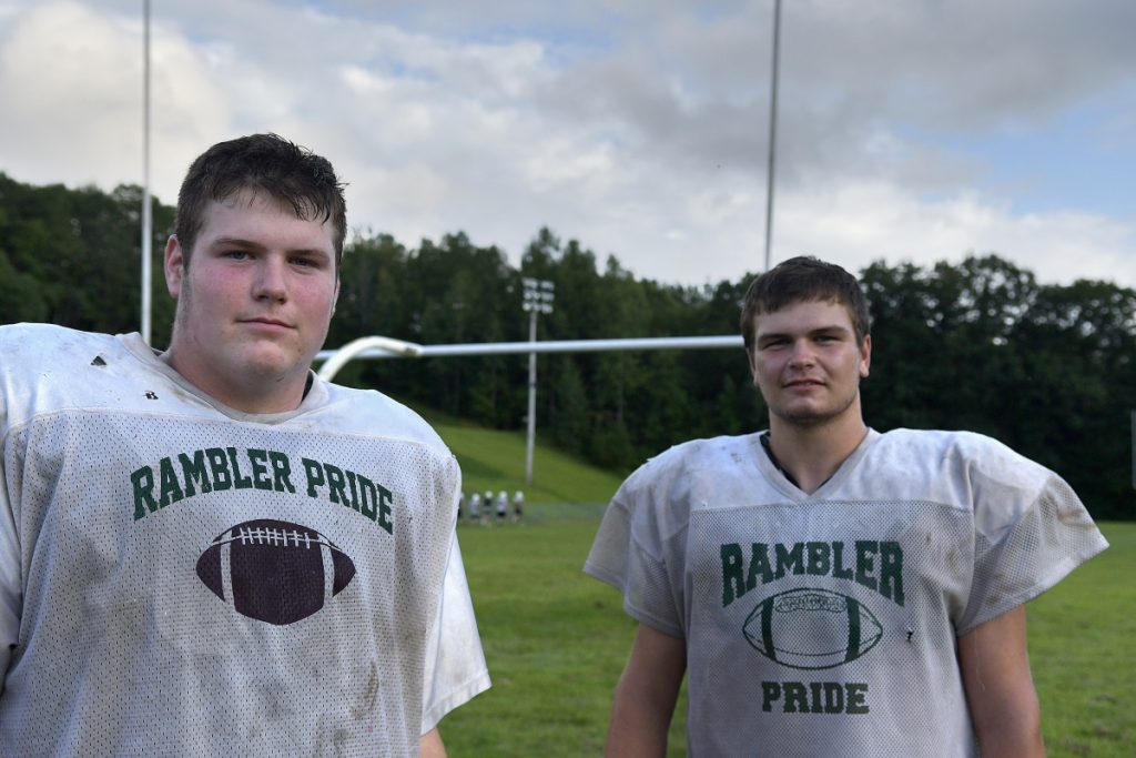 Hall-Dale High School's Patrick Rush, left, and Alixx Canwell will play key roles for the Winthrop/Monmouth/Hall-Dale football team this fall.