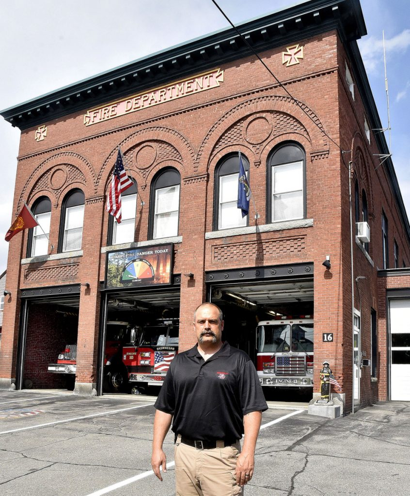 Skowhegan Fire Chief Shawn Howard stands on Tuesday in front of the town's current century-old fire station. Town officials are contemplating the construction of a public safety building that would house the Fire and Police departments.
