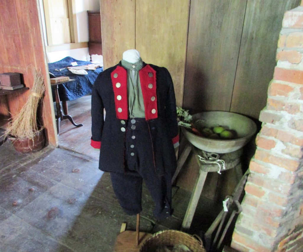 An exhibit of period clothing at the Chapman-Hall House in Damariscotta includes this boy's outfit, circa 1750.