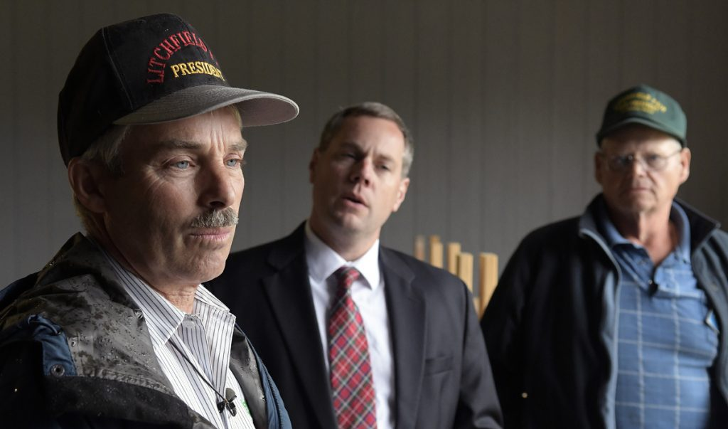 Litchfield Farmer's Club President Charlie Smith, left, attorney Kevin Sullivan and Vice President Dick Brown asserted Aug. 22 the organization's former treasurer, Ryan Beaudette, stole thousands of dollars from the club, which runs the Litchfield Fair. The fair is scheduled to open Sept. 7.