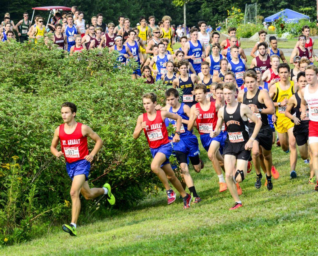 Lisandro Berry-Gaviria takes an early lead during the annual Laliberte Invitational on Aug. 24 at Cony High School in Augusta.