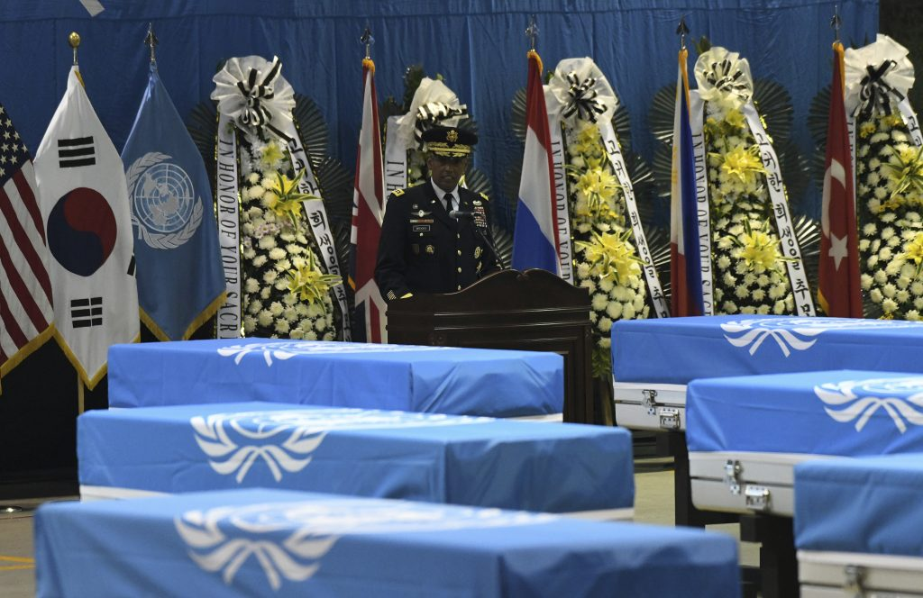 U.S. General Vincent Brooks, commander of the United Nations Command, U.S. Forces Korea, and Combined Forces Command, speaks during a repatriation ceremony for the remains of U.S. soldiers killed in the Korean War and collected in North Korea, at the Osan Air Base in Pyeongtaek, South Korea on Wednesday, Aug. 1, 2018.