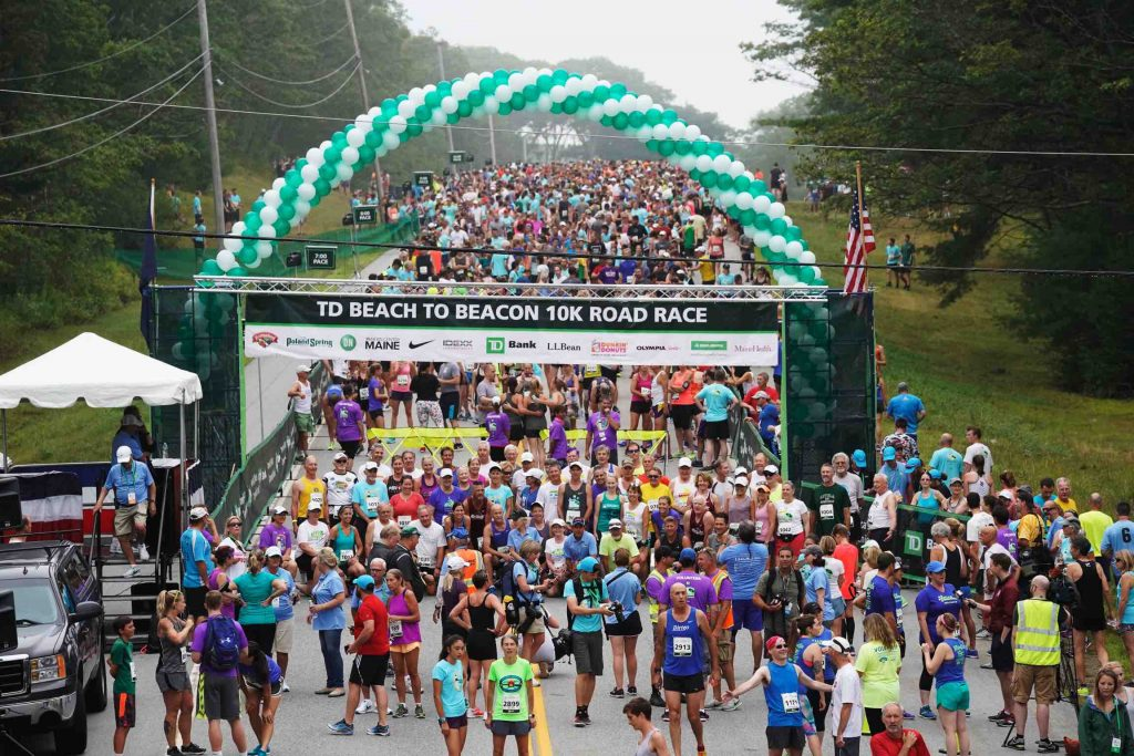 Runners prepare for the start of the Beach to Beacon 10K road race in 2018.