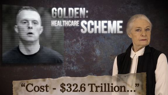 A screenshot from a new campaign advertisement by U.S. Rep. Bruce Poliquin, a Maine Republican, who is attacking his Democratic challenger in the 2nd District, Democrat Jared Golden.