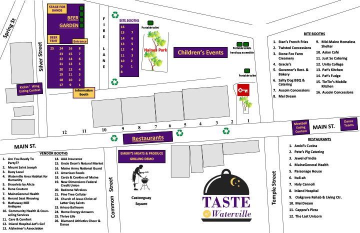 Taste of Waterville map 2018