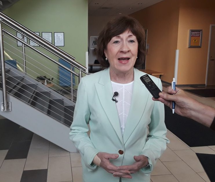 Sen. Susan Collins, R-Maine, speaks to reporters after a tour of Mölnlycke Health Care's manufacturing facility at Brunswick Landing.