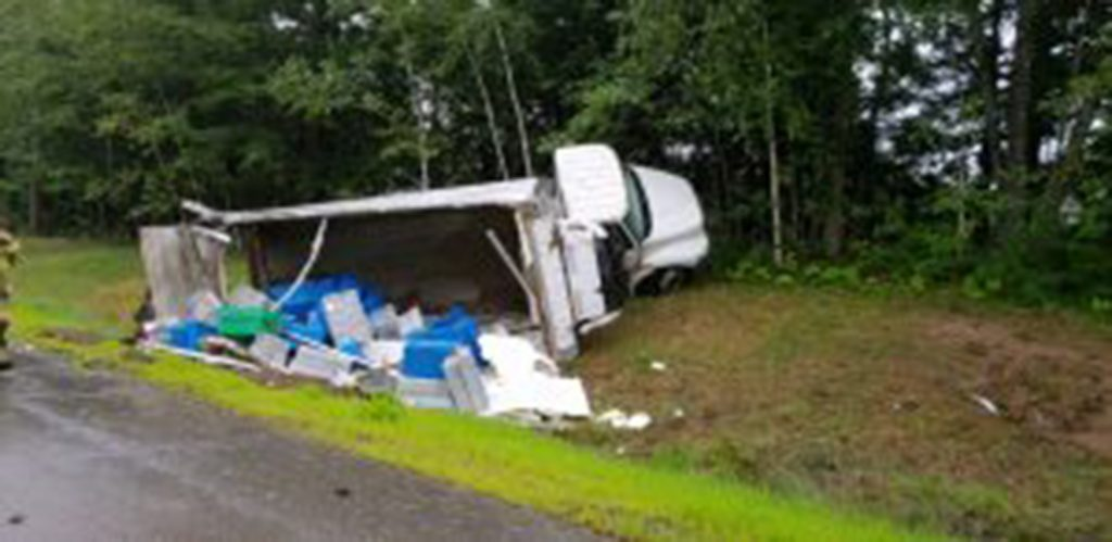 A box truck rolled over along Route 1 northbound in Brunswick in the Cook's Corner area  on Aug. 22, dumping its load of lobsters.