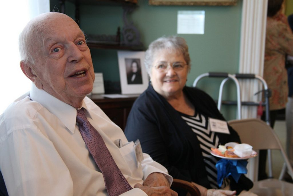John Bridge was honored Saturday by the Kennebec Historical Society for his contributions to the society. Bridge, a former Augusta mayor and construction business owner, has also been a generous donor to other local organizations. At right is his wife, Charlene Bridge.