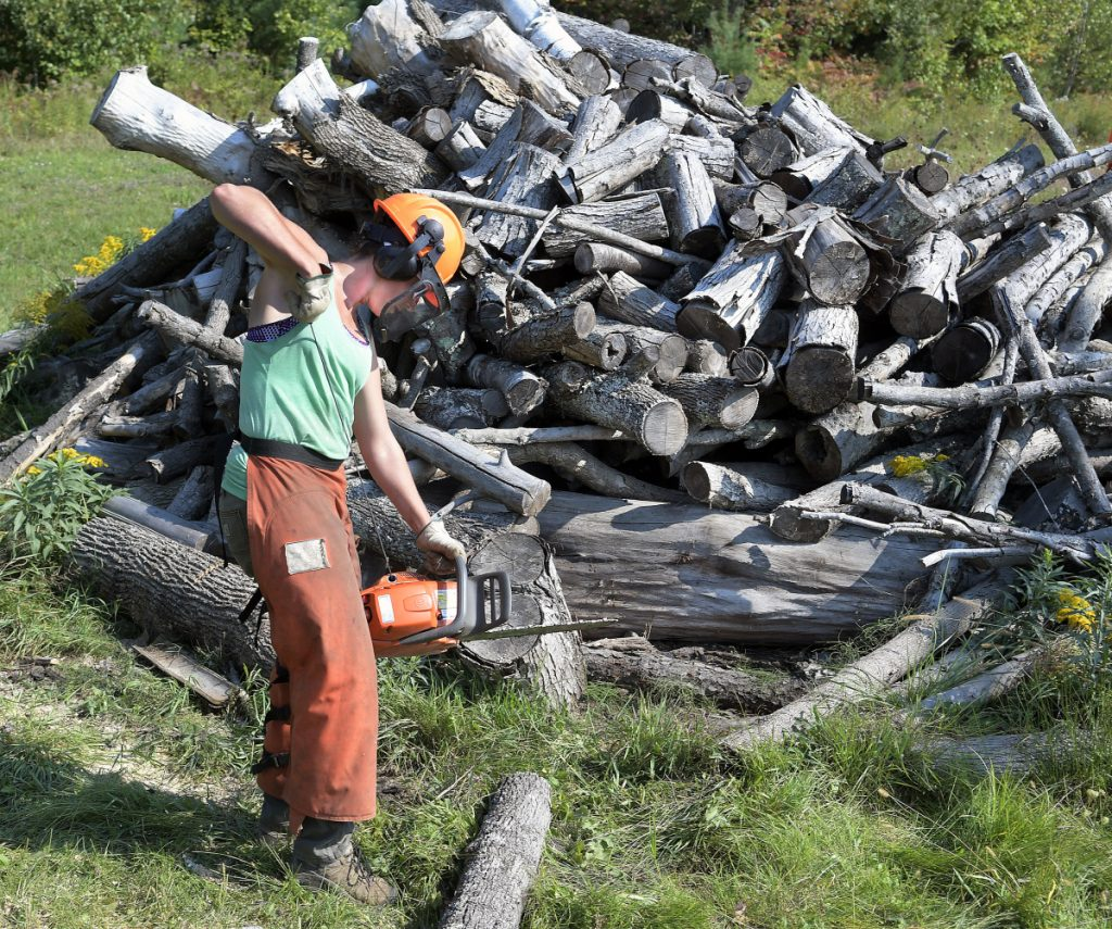 Anna Carll fires up a chainsaw Sunday while cutting wood at the Readfield transfer station. Carll, a town employee, volunteered her time with several residents of the community to split wood for residents to utilize as heat this winter.