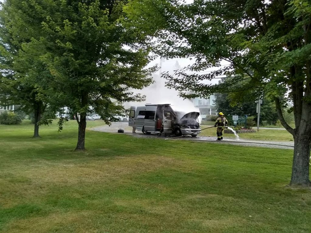 Augusta firefighters respond to a motor home fire in Savage Park on Monday morning. Two people and two dogs were in the vehicle, but none of them were injured in the blaze.