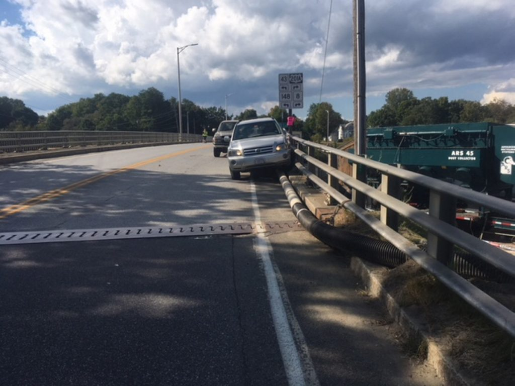An 80-year-old Madison man struck a pedestrian and the guardrail on the Madison-Anson bridge Monday afternoon after apparently suffering a medical problem. The driver was airlifted to a Bangor hospital. The pedestrian was treated at Redington-Fairview Hospital in Skowhegan and released.