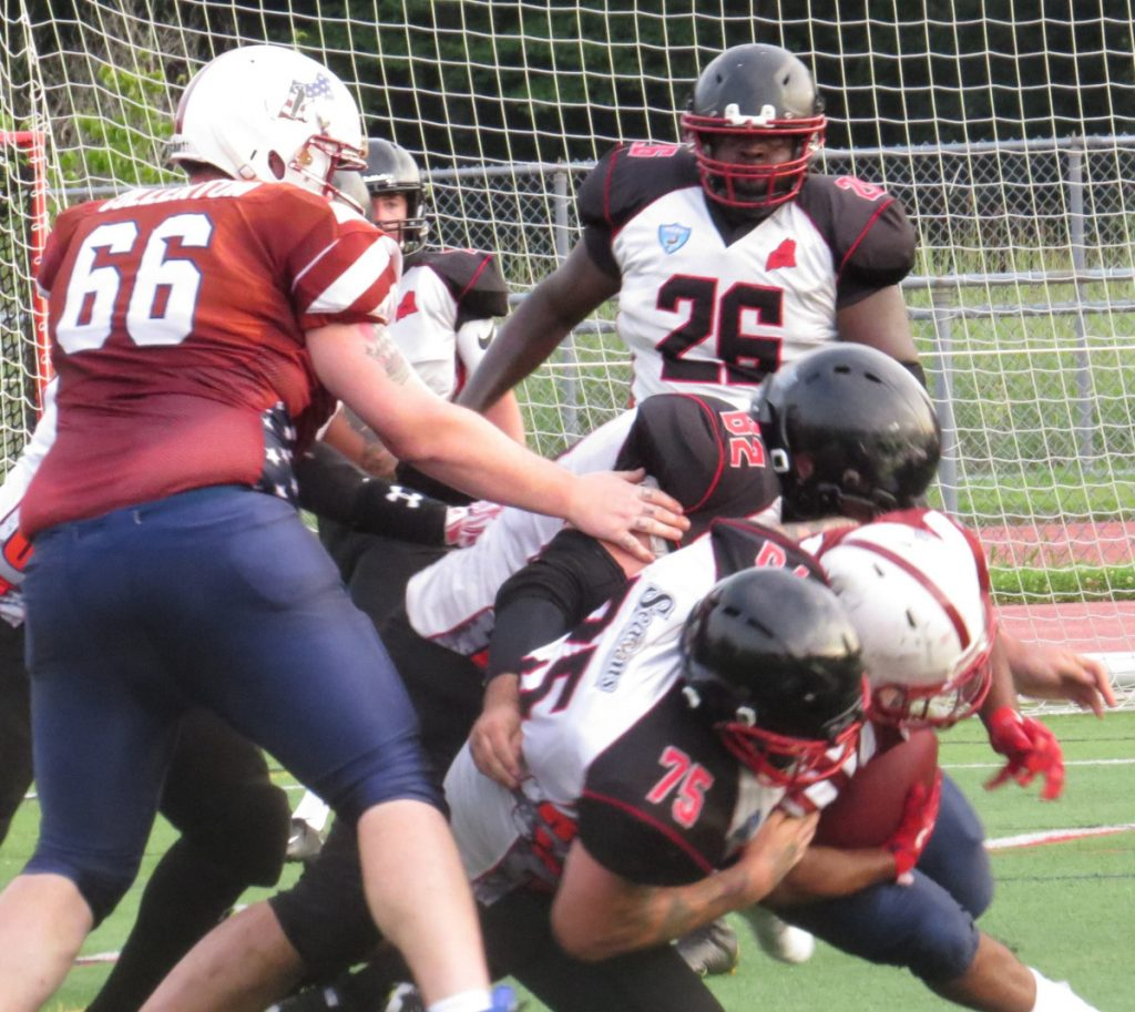The Twin City Riot of the New England Football League battle it out in August against the Vermont Ravens at their new home field in Athens. .