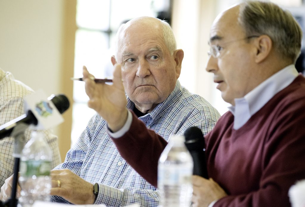 USDA Secretary Sonny Perdue listens to U.S. Rep. Bruce Poliquin, R-Maine, during a roundtable discussion at Franklin Memorial Hospital in Farmington on Wednesday.