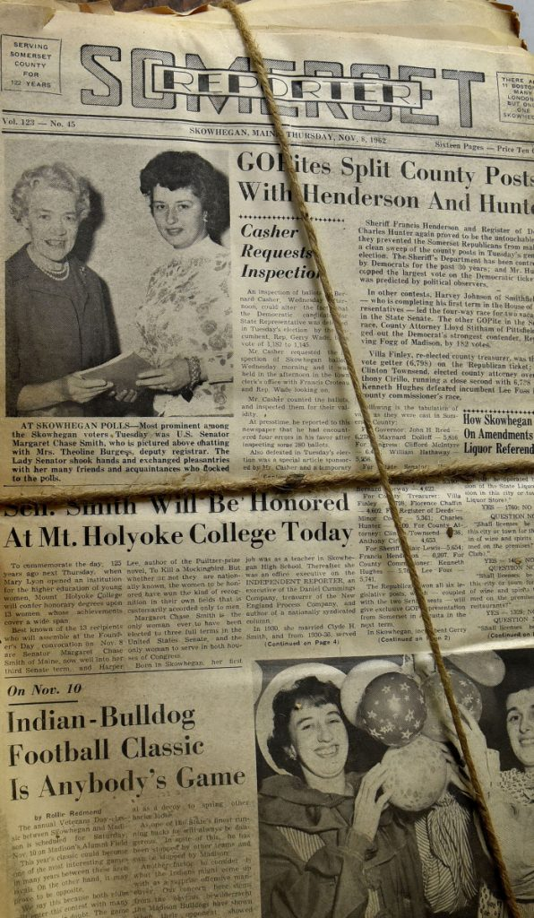 An edition of the Independent Reporter from the early 1960s shows on Tuesday a photograph of U.S. Sen. Margaret Chase Smith, at upper left. The newspaper is one of hundreds of editions of Somerset County newspapers dating back to the mid-1800s that will become part of an extensive collection in Skowhegan.