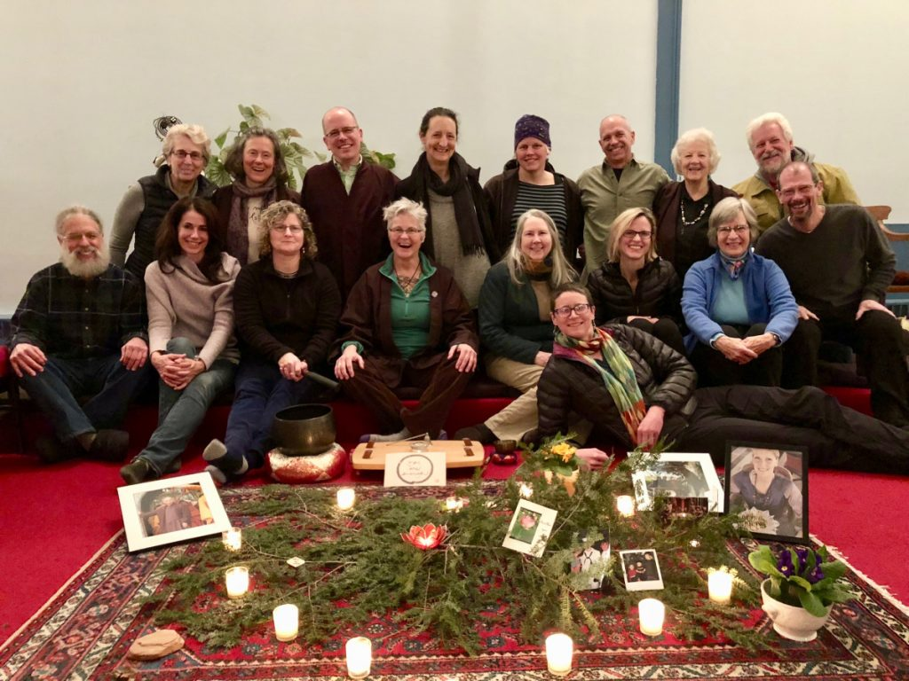 Peaceful Heart Sangha members enjoyed their 10-year celebration this spring. This free mindfulness meditation group meets from 6:30 to 8 p.m. every Monday in the Unitarian Universalist Community Church, 69 Winthrop St., Augusta, and from 8 to 9:30 a.m. every Thursday at River Studio, 332 Water St., Hallowell. Member Julia McDonald is in front. Second row from left are Peter Hagerman, Jennifer Cook, Sarah Land, Lynn Deeves, Pam Robson, Cary Colwell, Janet Favor and Steve Kibler. Back, from left, are Vendean Vafiades, Marty Soule, Greg Fahy, Meg Dellenbaugh, Rachel Dyer, Rob Rowland, Lorna Doone and Jonathan Leach.