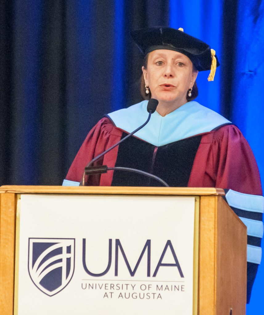 University of Maine at Augusta President Rebecca Wyke speaks on Friday during the annual University of Maine at Augusta convocation at the Augusta Civic Center.