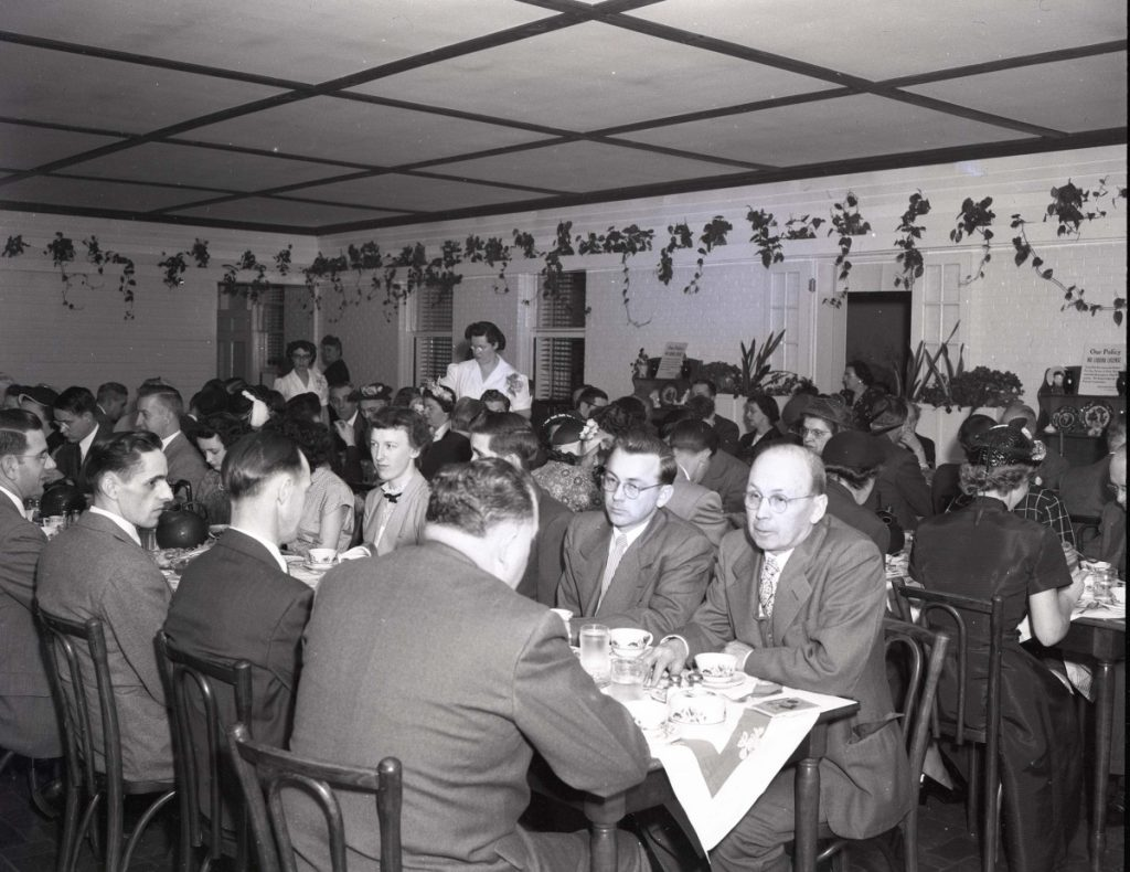 A 1951 meeting of Rexall Pharmacy representatives from around Maine at a banquet in the Terrace Room of the Worster House.