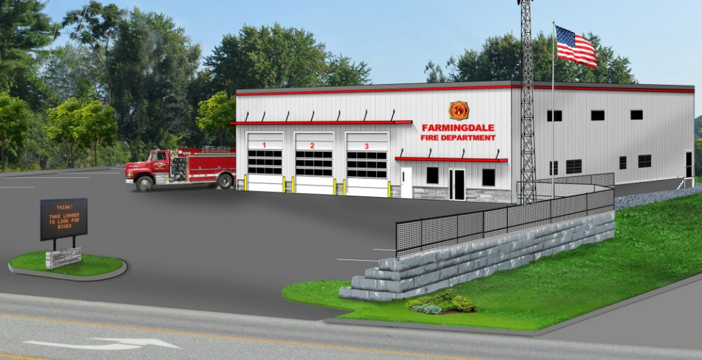 A rendering of a proposed new Farmingdale fire station.