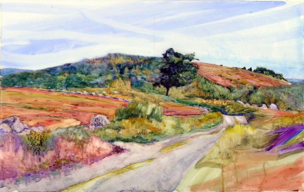 """Carol Douglas, """"Clary Hill,"""" watercolor on Yupo, 35-inch by 23-inch"""