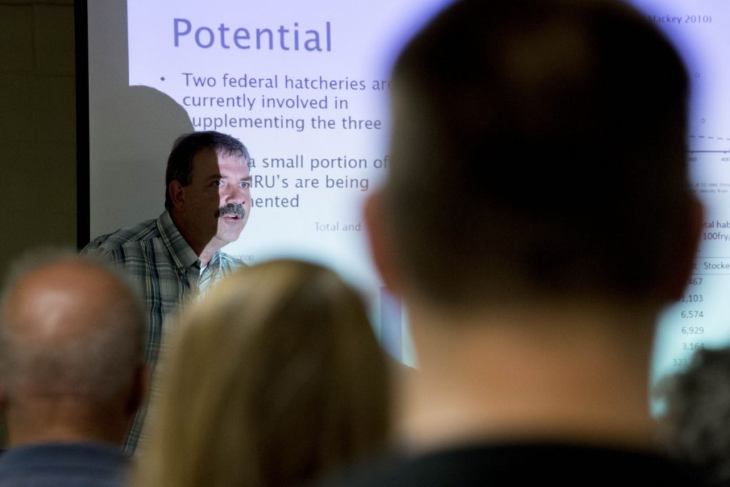Paul Christman, marine scientist with the Maine Department of Marine Resources, gives a presentation Wednesday at the Farmington Community Center on the proposed removal of Walton's Mill Pond Dam in Farmington.