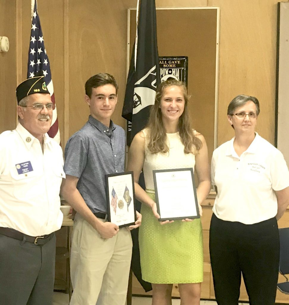 MG Post 163 Commander, Clayton York with Boys State Award recipient Hagan Wallace, Girls State Award recipient Elizabeth Sugg and Ladies Auxiliary President Deana Stearns.
