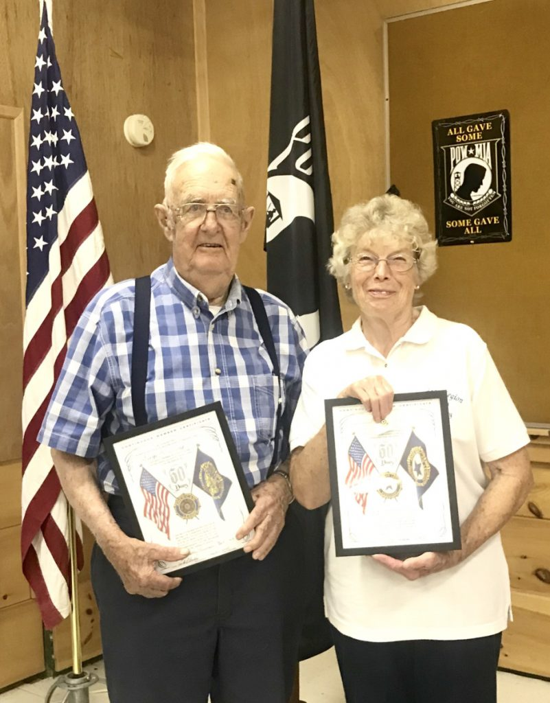 Legionaire George McKennay and Ladies Auxiliary Bev McKennay both received 50 year certificates.