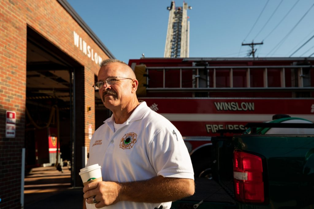 "Newly arrived Winslow Fire Department Chief Ronald ""Ronnie"" Rodriguez stands in front of the Winslow Fire Department on Saturday morning during the department's open house."
