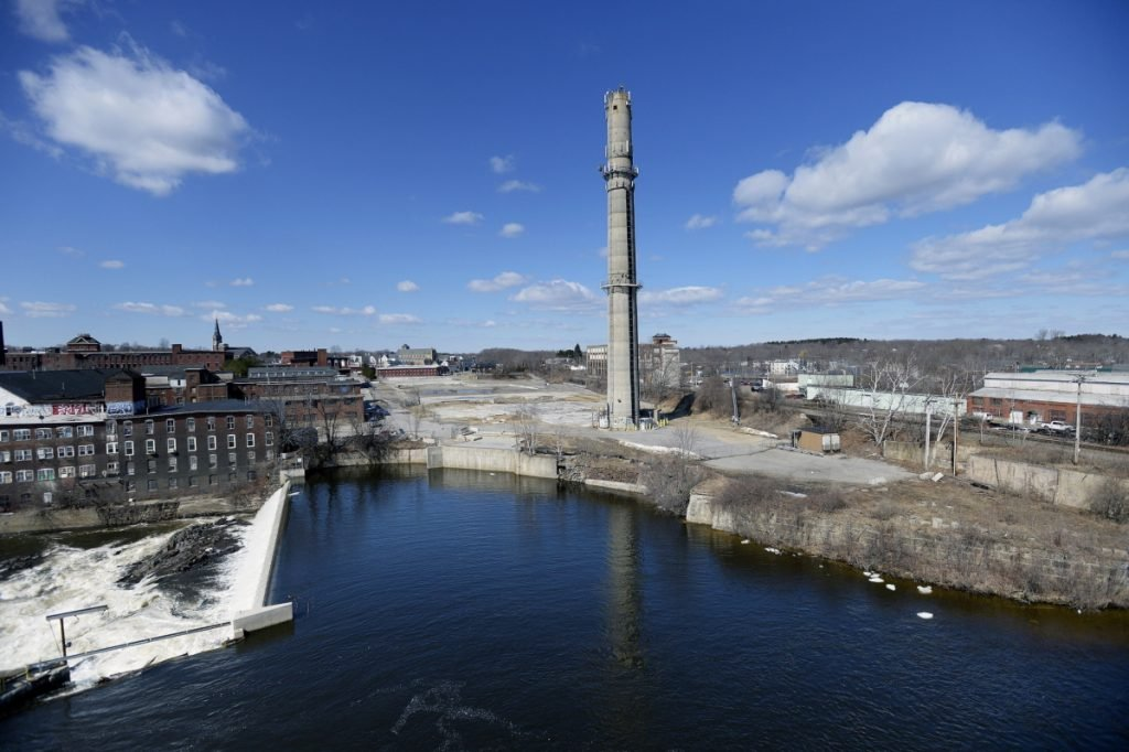 The 8½-acre riverfront property, shown in 2014, that once held a trash incinerator in Biddeford is already the proposed location of the city's first municipal parking garage.