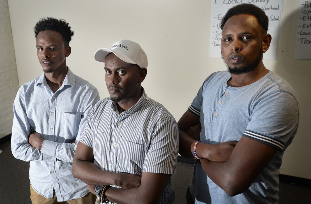 """From left, Mohamed Awil, Yusuf Yusuf and Abdullahi Ali, former roommates of the author of """"Call Me American,"""" dispute his characterization of them in the book and say there are many factual errors."""