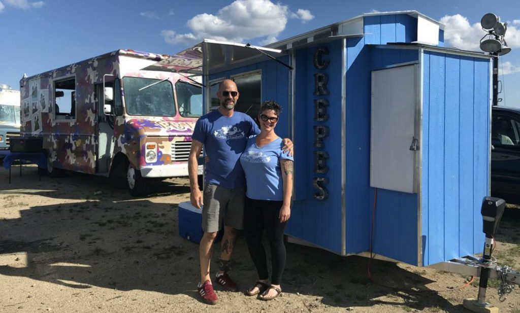 Lonnie Stinson and Brandi Haaf, owners of Crepe Elizabeth, prepare for a crowd in August at Thompson's Point in Portland.